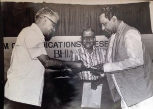 The author (centre) with Bhimsen Joshi (right) during the release function of his biography. Unveiling the first copy is former Illustrated weekly of India editor, the Late M V Kamath.