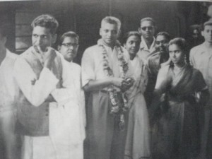 The author (second from left) seeing off D V Paluskar (thrd from left) at New Delhi ahead of a concert tour.