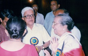 The author in conversation with Gangubai Hangal at a concert in Pune.